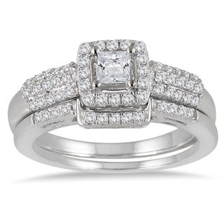 Marquee Jewels 10k White Gold 7/8ct TDW Diamond Halo Bridal Set