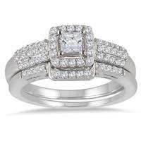 Marquee Jewels 10k White Gold 7/8ct TDW Diamond Halo Bridal Set