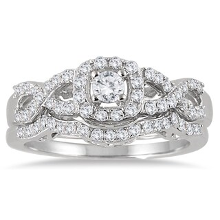 Marquee Jewels 10k White Gold 3/4ct TDW Diamond Halo Bridal Ring Set (3 options available)