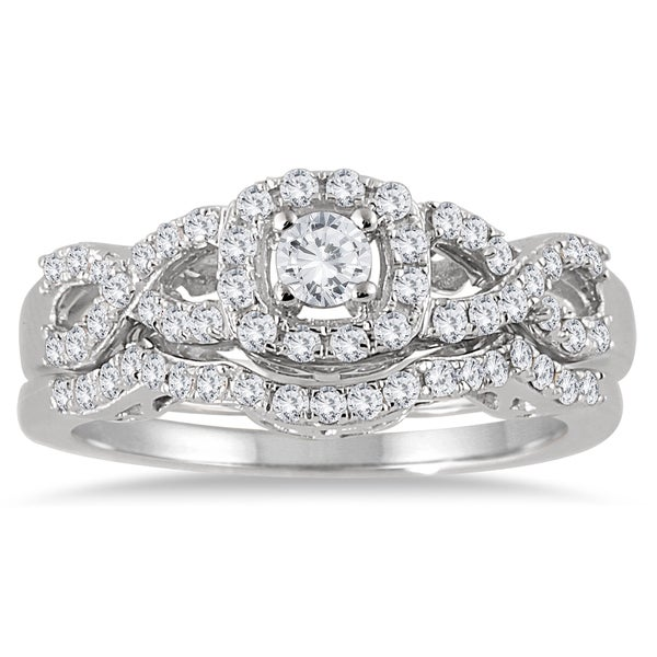 marquee jewels 10k white gold 34ct tdw diamond halo bridal ring set - Halo Wedding Ring Set