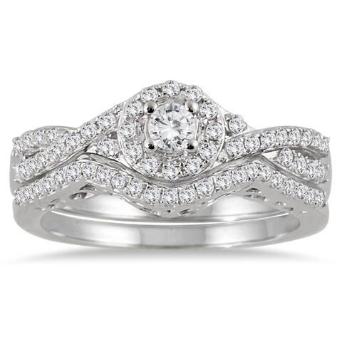 10k White Gold 3/4ct TDW Split-shank Diamond Bridal Ring Set