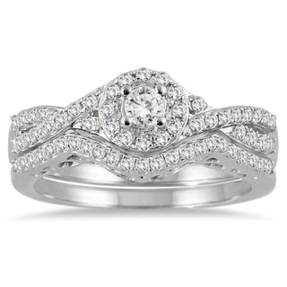 10k White Gold 3 4ct TDW Split Shank Diamond Bridal Ring Set