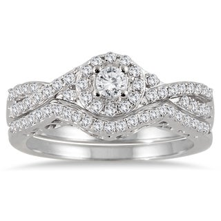 10k White Gold 3/4ct TDW Split-shank Diamond Bridal Ring Set