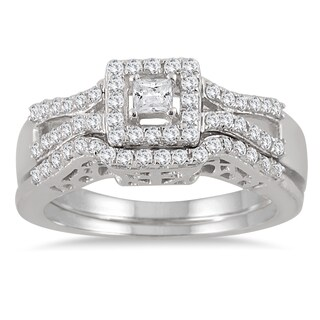 Marquee Jewels 10k White Gold 3/5ct TDW Diamond Halo Bridal Ring Set (3 options available)