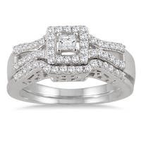 Marquee Jewels 10k White Gold 3/5ct TDW Diamond Halo Bridal Ring Set