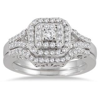 10k White Gold 3/5ct TDW Diamond Halo Bridal Ring Set (3 options available)