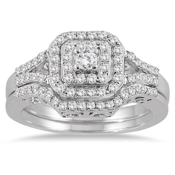 10k white gold 35ct tdw diamond halo bridal ring set