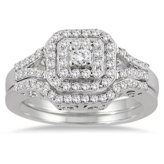 10k White Gold 3/5ct TDW Diamond Halo Bridal Ring Set (I-J, I1-I2)