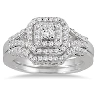 10k White Gold 3/5ct TDW Diamond Halo Bridal Ring Set