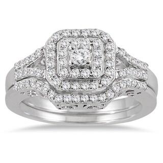 10k White Gold 3/5ct TDW Diamond Halo Bridal Ring Set