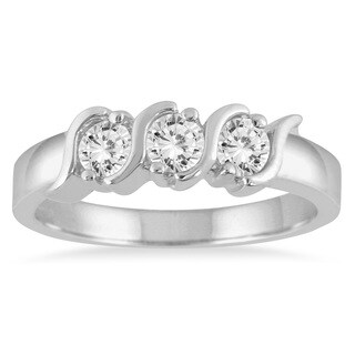 Marquee Jewels 10k White Gold 1/2ct TDW Three-stone Diamond Ring