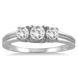 Marquee Jewels 10k White Gold 1/2ct TDW Diamond 3-stone Engagement Ring