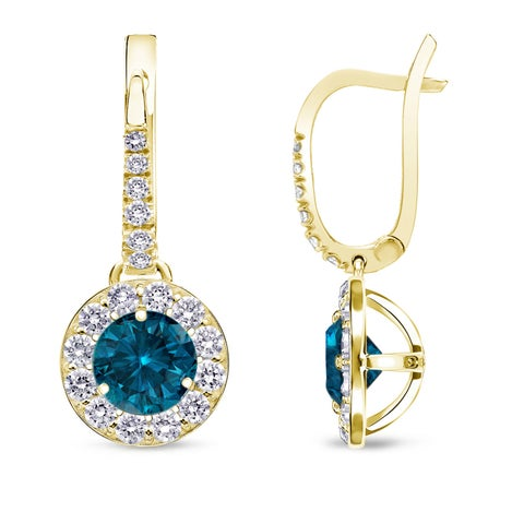 Auriya 14k Yellow Gold 1/2ct to 2ct TDW Blue and White Halo Diamond Dangle Earrings