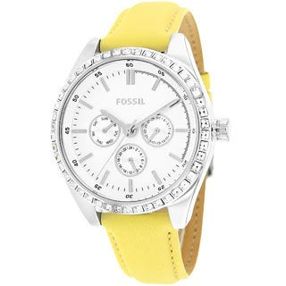 Fossil Women's BQ1440 Chronograph Yellow Leather Watch