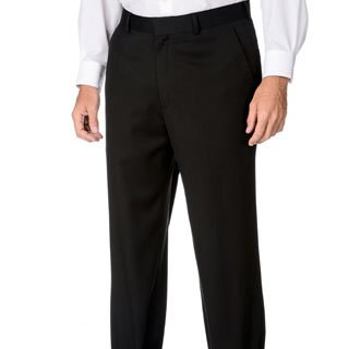 Marco Carelli Men's Big & Tall Black Flat-front Dress Pants