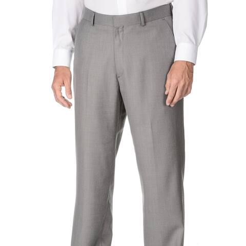 Marco Carelli Men's Big & Tall Grey Flat-front Dress Pants