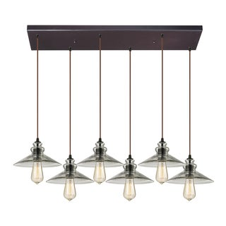 Elk Lighting 6-light Satin Nickel and Ribbed Glass Chandelier