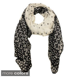 Le Nom Geometric and Star Print Scarf