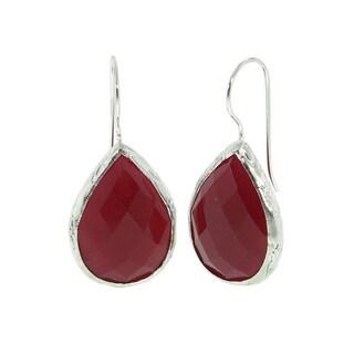 Eternally Haute Sterling Silver Gemstone Teardrop Dangle Earrings
