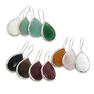 Eternally Haute Sterling Silver Gemstone Teardrop Dangle Earrings