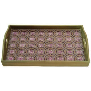 Purple/ Bronze Rectangular Wood and Glass Rabat Tray