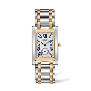 Longines Women's L5.655.5.70.7 Dolce Vita Stainless Steel 18k Yellow Gold Silver Dial Watch|https://ak1.ostkcdn.com/images/products/9478201/P16660190.jpg?impolicy=medium