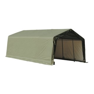 Shelterlogic Outdoor Garage Automotive Boat Car Vehicle Peak Style Storage Green Shed 13' Width x 24' Lenth x 10' Height / 74442