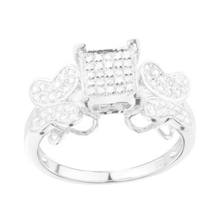 Sterling Silver 1/3ct TDW Butterfly Diamond Engagement Ring