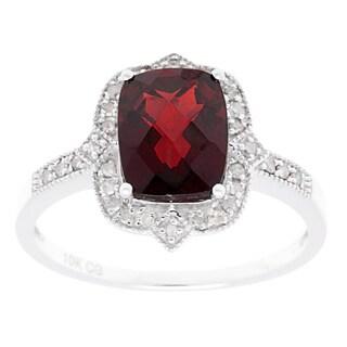 10k White Gold 1/6ct TDW Diamond and Cushion-Cut Gemstone Vintage-style Ring (G-H, I1-I2)