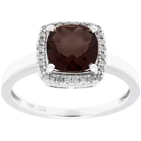 10k White Gold 1/8ct TDW Diamond Halo and Checkerboard-Cut Gemstone Ring (G-H, I1-I2)