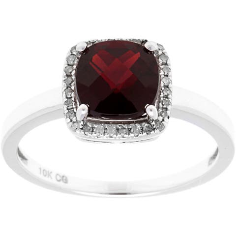 10k White Gold 1/8ct TDW Diamond Halo and Checkerboard-Cut Gemstone Ring (G-H, I1-I2)