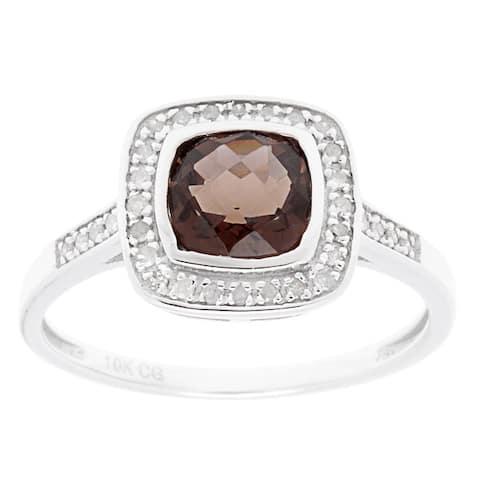 10k White Gold 1/7ct TDW Diamond and Gemstone Ring (G-H, I1-I2)