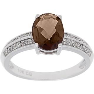 10k White Gold 1/8ct TDW Diamond and Gemstone Ring (G-H, I1-I2)