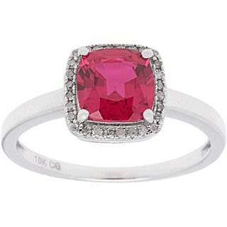 10k White Gold 1/8ct TDW Diamond Halo and Cushion-cut Gemstone Ring (G-H, I1-I2)
