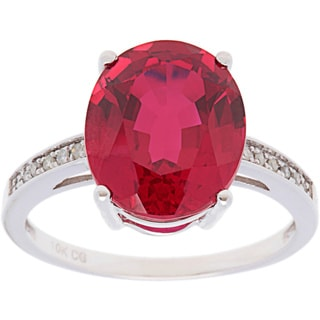 10k White Gold 1/10ct TDW Diamond and Large Oval Gemstone Ring (G-H, I1-I2)