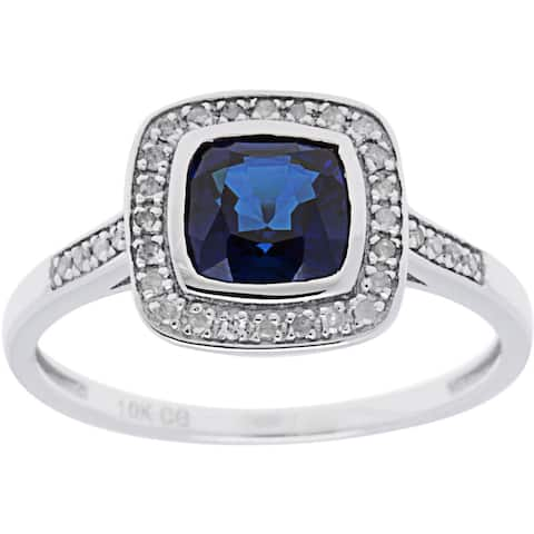 10k White Gold 1/7 ct TDW Diamond and Cushion-Cut Gemstone Ring (G-H, I1-I2)