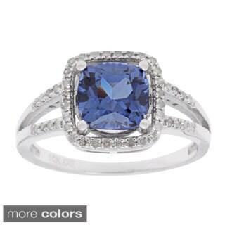 10k White Gold 1/5ct TDW Diamond and Gemstone Ring (G-H, I1-I2)