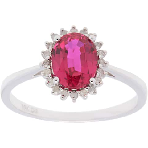10k White Gold 1/7ct TDW Diamond and Oval-cut Gemstone Ring (G-H, I1-I2)