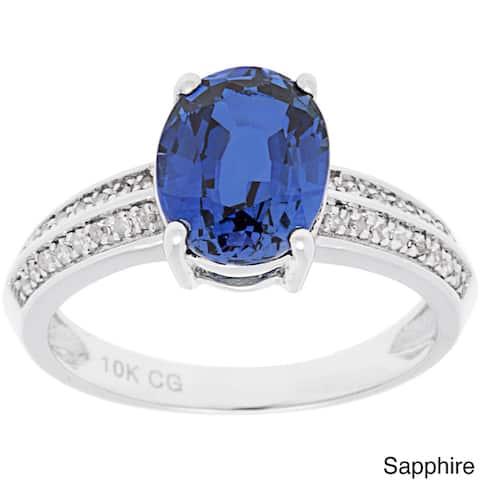 10k White Gold 1/8 ct TDW Diamond and Oval Gemstone Ring (G-H, I1-I2)