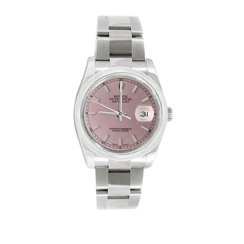 Pre-owned Rolex Men's Datejust 116200 Stainless Steel Salmon Stick Watch