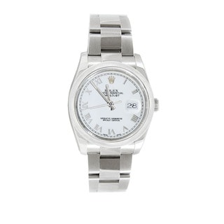 Pre-owned Rolex Men's Datejust 116200 Stainless Steel White Roman Watch