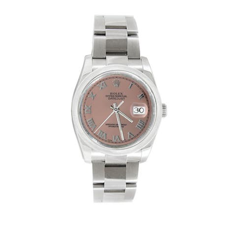 Pre-owned Rolex Men's Datejust 116200 Stainless Steel Salmon Roman Watch