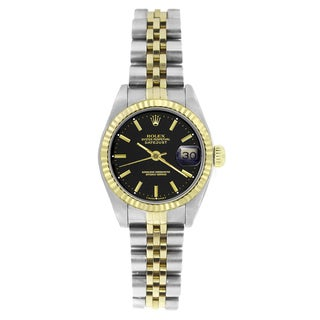 Pre-owned Rolex Women's 69173 Datejust Two-Tone Black Watch