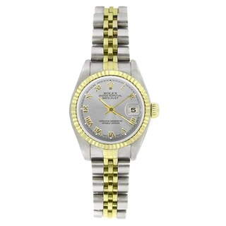 Pre-owned Rolex Women's 69173 Datejust Two-Tone Silver Roman Watch