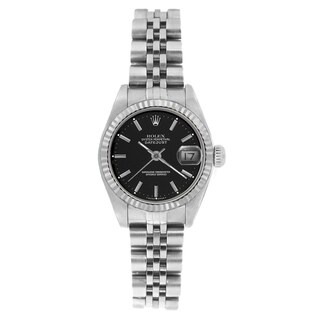 Pre-owned Rolex Women's 69174 Datejust Jubilee Bracelet Black Stick Watch