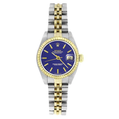 Pre-owned Rolex Women's 69173 Datejust Two-Tone Blue Stick Watch - Silver