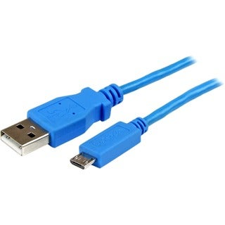 StarTech.com 1m Blue Mobile Charge Sync USB to Slim Micro USB Cable f
