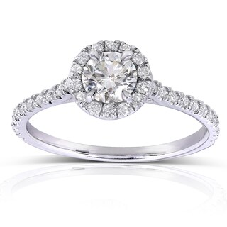 Annello by Kobelli 14k White Gold 5/8ct TDW Round Diamond Halo Engagement Ring (More options available)