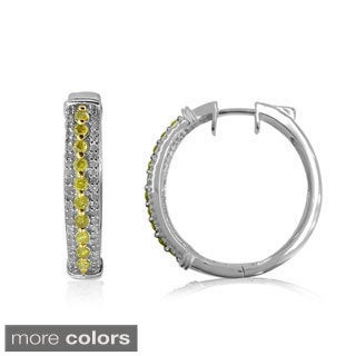 Sterling Silver 1ct TDW Color Diamond Hoop Earring (H-I, I2-I3)