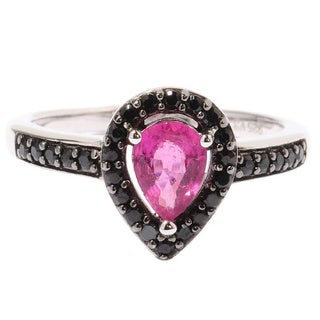 Sterling Silver Rubellite Black Spinel Drop Shaped Ring